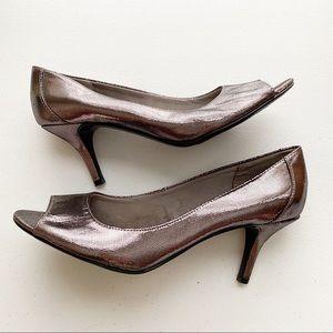 Naturalizer Open Peep Toe Heels Pewter Metallic